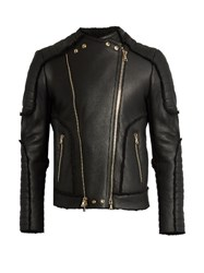 Balmain Shearling Biker Jacket Black