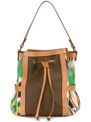 Etro Embroidered Trim Tote Brown