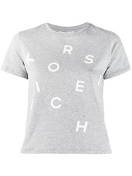 Michael Kors Collection Logo Printed T Shirt Grey
