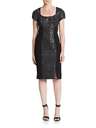 Theia Geometric Jacquard Cutout Back Sheath Dress Black