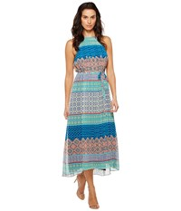 Donna Morgan Off Shoulder Chiffon Maxi Celestial Turquoise Multi Women's Dress