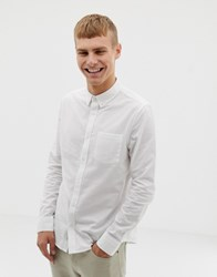 Burton Menswear Long Sleeve Oxford Shirt In White