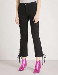 Moandco. Laced Skinny Cropped High Rise Jeans Black Denim