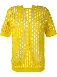 Marni Perforated Knit Top Yellow And Orange