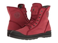 Palladium Pampa M65 Hi Lp Maroon Black Floral Lining Women's Lace Up Boots Red