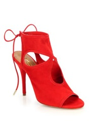 Aquazzura Sexy Thing Suede Cutout Booties Lipstick