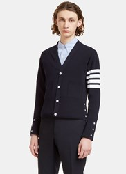 Thom Browne Ribbed Stripe V Neck Cardigan Navy