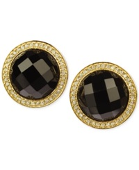 Macy's Black Onyx 14 Ct. T.W. And Cubic Zirconia Stud Earrings In 14K Gold Over Sterling Silver