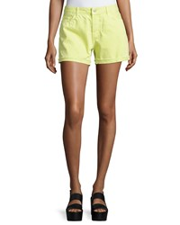 J Brand Jeans Cuffed Cut Off Jean Shorts Lime Sherbet