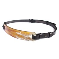 Arlette Ess Horn And English Saddlery Leather Belt Black White Brown