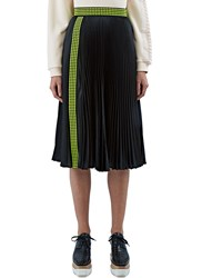 Christopher Kane Mid Length Pleated Satin Skirt Black