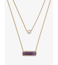 Gold Tone Amethyst Double Strand Necklace