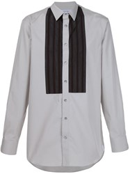 Alexander Mcqueen Striped Bib Detail Shirt Grey