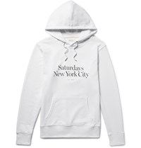 Saturdays Surf Nyc Ditch Miller Printed Loopback Cotton Jersey Hoodie White