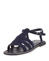 Manolo Blahnik Canale Suede Flat Cage Sandal Navy