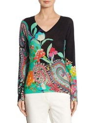Etro Floral Paisley Silk And Cashmere V Neck Sweater Black