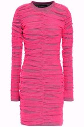 House Of Holland Woman Layered Ruched Neon Tulle And Jersey Mini Dress Bright Pink
