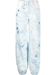 Off White Bleached Tapered Jeans Blue