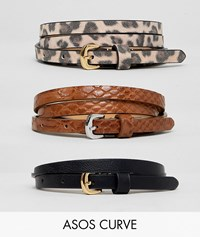 Asos Design Curve 3 Pack Waist And Hip Belts In Snake And Leopard Multi