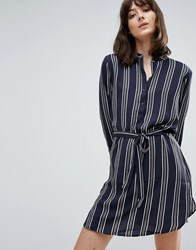 Jdy Janey Stripe Belted Shirt Dress Cloud Dancer Stripe Navy