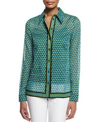 Michael Kors Collection Deco Print Button Down Shirt Aqua Blue