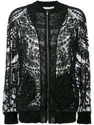 Amen Sheer Beaded Bomber Jacket Women Cotton Polyamide Spandex Elastane Glass 40 Black