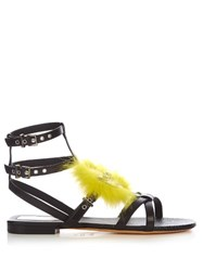 Fendi Bag Bugs Fox Fur Embellished Leather Sandals Black Yellow