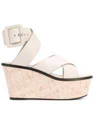 Barbara Bui Crossover Wedge Sandals Women Calf Leather Leather 36 Nude Neutrals