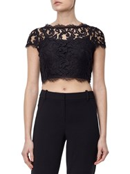 Adrianna Papell Petite Cap Sleeve Lace Evening Top Black