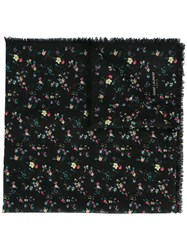Saint Laurent Floral Square Scarf Black