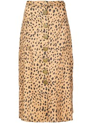 Nicholas Leopard Print Skirt Brown