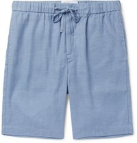 Frescobol Carioca Slim Fit Linen And Cotton Blend Drawstring Shorts Blue