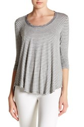 H By Bordeaux 3 4 Sleeve Scoop Neck Stripe Tee Gray