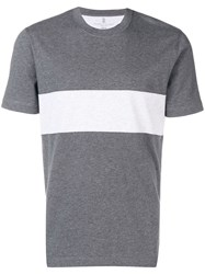 Brunello Cucinelli Contrast Band T Shirt Grey