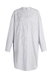 Acne Studios Esloane Striped Long Sleeved Cotton Shirtdress White Multi