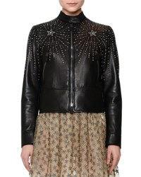 Valentino Star Studded Leather Jacket Black