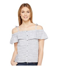 Lucky Brand Space Dyed Ruffle Top Blue Multi Women's Short Sleeve Pullover