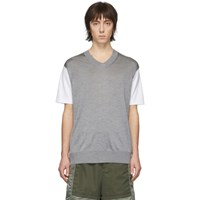 Junya Watanabe White And Grey Thin Knit Jersey T Shirt