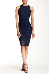 Alexia Admor Vegan Leather Lace Overlay Dress Blue