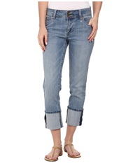 Kut From The Kloth Straight Legs Wide Roll Up Scoop Front Moderate Medium Base Wash Women's Jeans Blue
