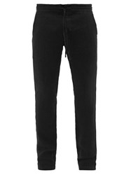 120 Lino Slubbed Linen Poplin Straight Leg Trousers Black