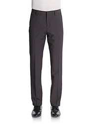 Saks Fifth Avenue Red Trim Fit Check Woven Knit Trousers Grey