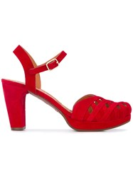 Chie Mihara Mid Heel Sandals Women Leather Foam Rubber 36 Red