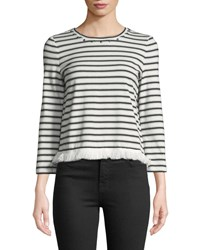 Kate Spade Stripe Knit Fringe Top White Black