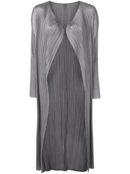 Issey Miyake Pleats Please By Micro Pleated Coat Grey