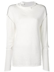 Y's Lightweight Deconstructed Sweater White