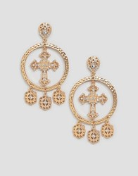 Boohoo Chunky Cross And Coin Earrings In Gold Gold