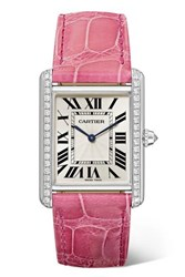 Cartier Tank Louis 25.5Mm Large Rhodiumized 18 Karat White Gold