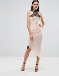 Sistaglam Pencil Dress With Asymmetric Hem And Lace Inserts White