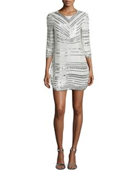 Parker Black Petra 3 4 Sleeve Beaded Cocktail Dress Silver
